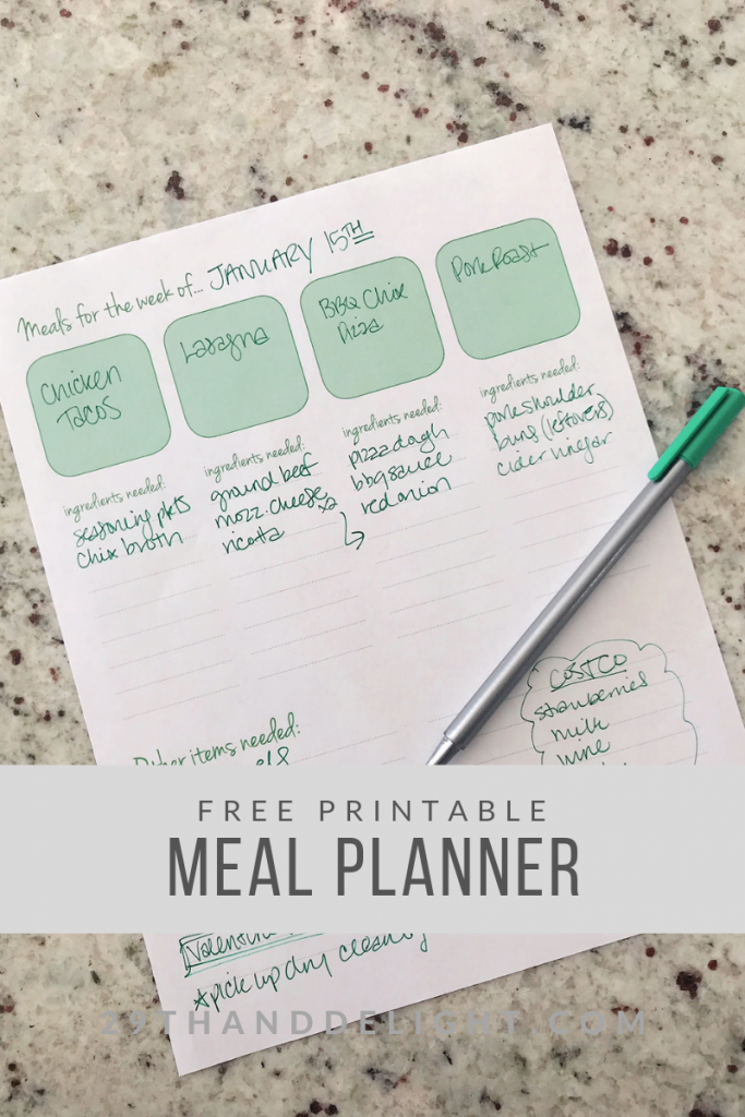 Meal Planner Free Printable | 29thandDelight.com
