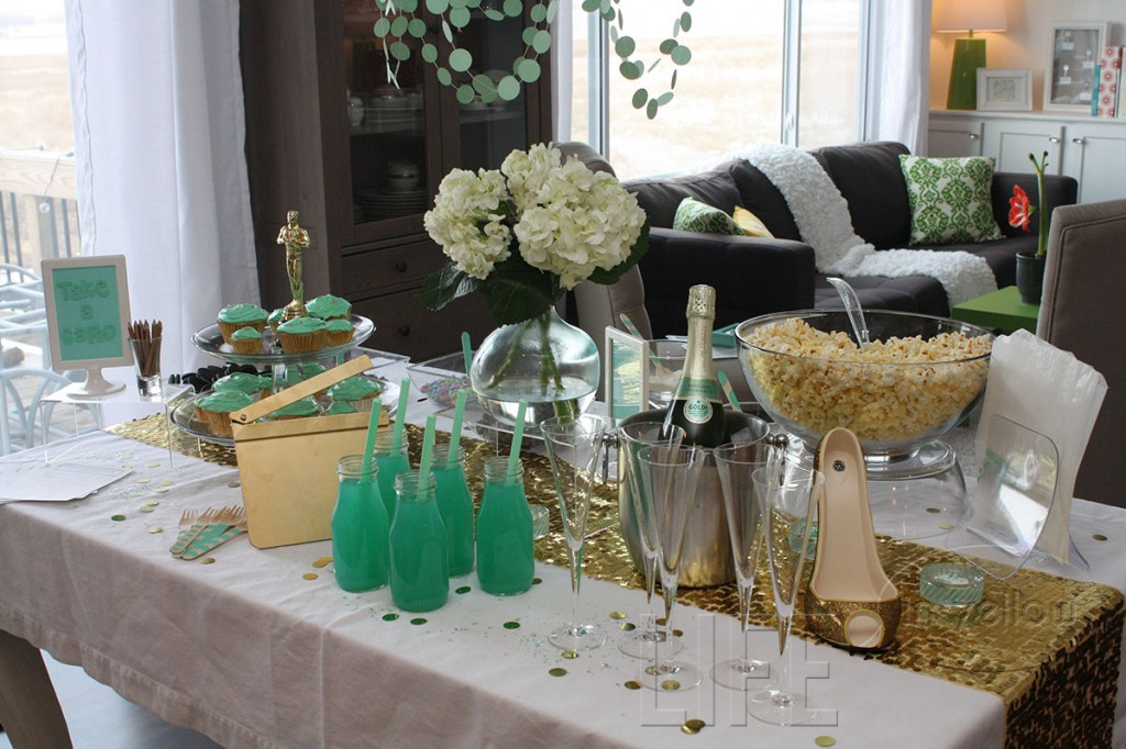 mint + gold oscar party | life in yellow