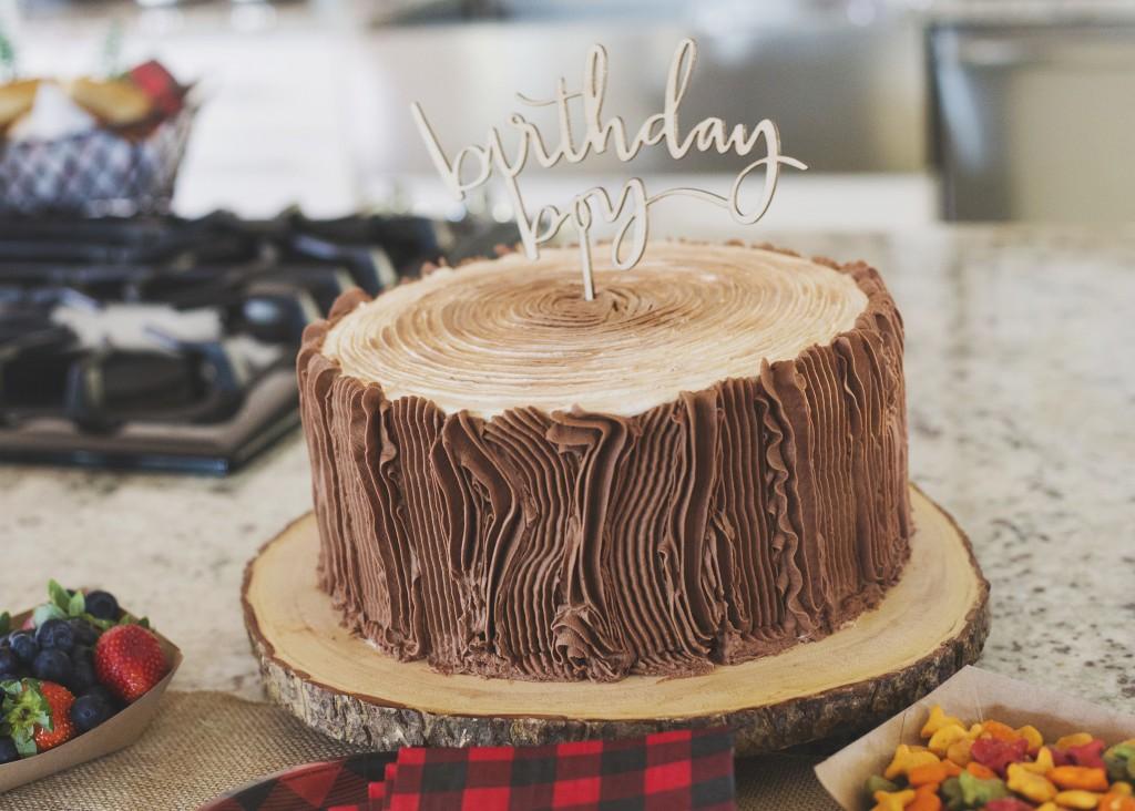 Crew's Second Camping Birthday log cake